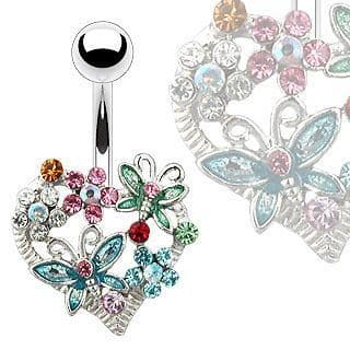 Heart Flower and Butterfly Gem Belly Bar