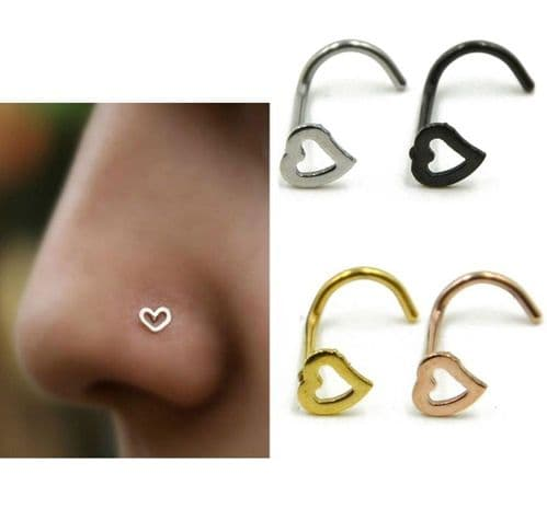 Heart Top Nose Stud with Screw Bar