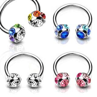 Horseshoe Barbell with Multi Gem Balls