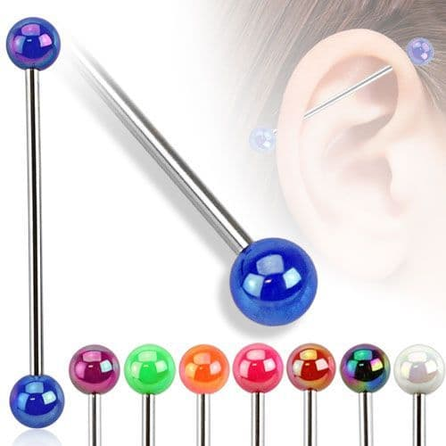 Industrial Barbell Piercing with Metallic Style Ball