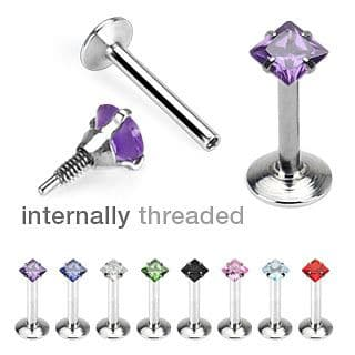 Internally Thread Square Gem Labret Stud