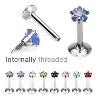 Internally Threaded Star Gem Prong Set Labret