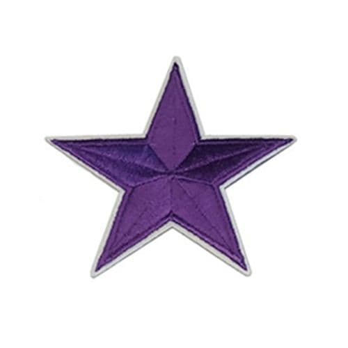 Iron /  Sew on Embroidered Purple Star