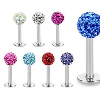 Labret Lip Stud with Ferido Gem Ball