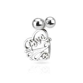 Love Heart Gem Dangle Cartilage Bar