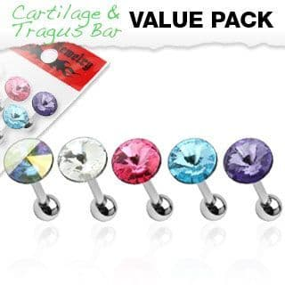 Mixed 5 Pack of Cartilage Bars with Pointed Gem Tops