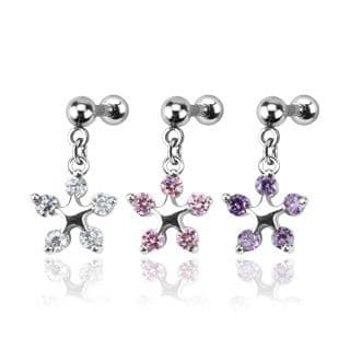 Multi Gem Star Flower Dangle Cartilage Tragus Bar