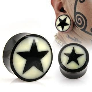 Natural Buffalo Horn Solid Saddle Plug Tunnel with Bone Star Inlay