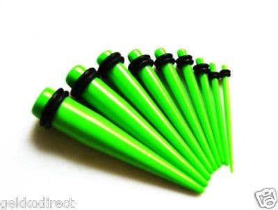 Neon Green Ear Taper with O-Rings