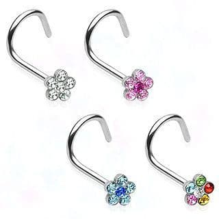 Nose Stud with Paved Gem Flower
