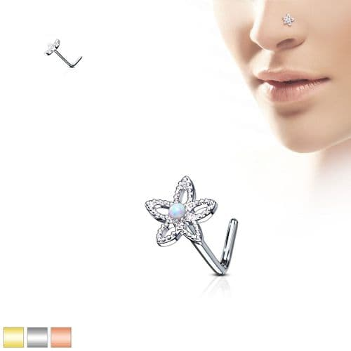 Opal Flower Nose Stud with L Bend Bar