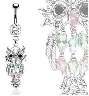 Owl Dangle Belly Bar with CZ Gems