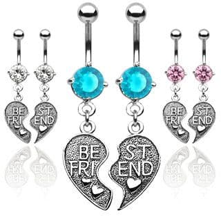 Pair of Best Friends Belly Bars with Heart Dangle