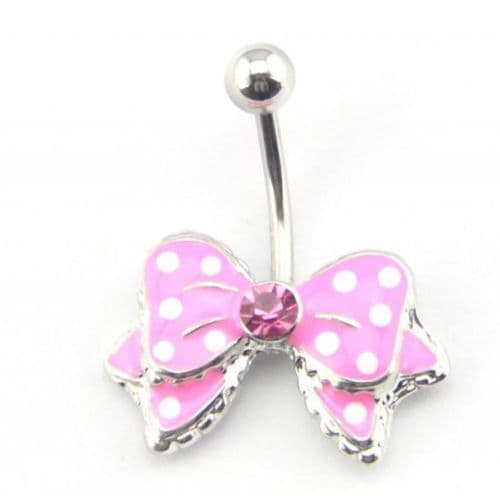 Pink Bow Belly Bar with Gem Centre