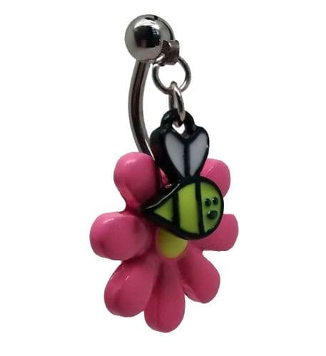 Pink Flower with Top Drop Down Dangling Bee Belly Bar
