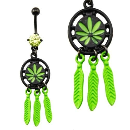 Pot Leaf Dreamcatcher Dangle Belly Bar with Green CZ Gem