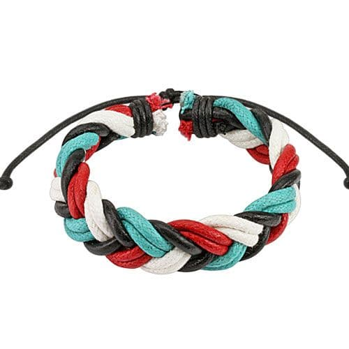 Quad-Coloured Double Braided Leather Bracelet with Drawstrings