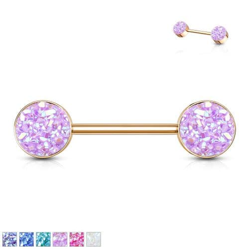 Rose Gold Nipple Bar with Druzy Stone Ends