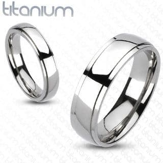 Solid Titanium Classic Bevelled Band Ring / Wedding Band