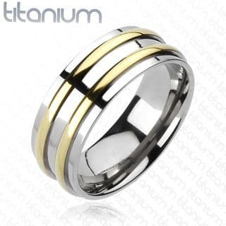 Solid Titanium Double Gold IP Round Stripe Band Ring / Wedding Band