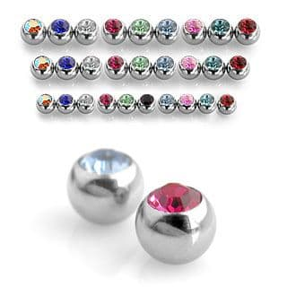 Spare Crystal Gem Balls for Piercing Bars 1.6mm Thread