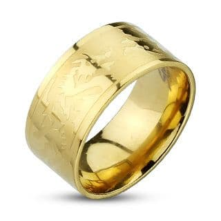 Stainless Steel Gold IP Dragons Etched Band Ring