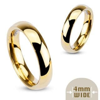 Stainless Steel Gold IP Glossy Mirror Polished Traditional Wedding Band (4mm Width)