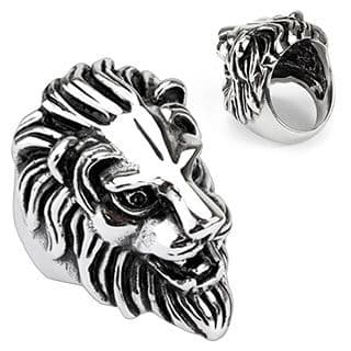 Stainless Steel Men's Lion Head Gothic Cast Ring