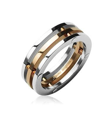 Stainless Steel with IP Rose Gold Centre 3 Piece Ring