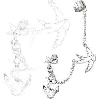 Star Stud Chain Earring with Swallow and Anchor Dangle and Clip