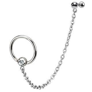Surgical Steel Chain Single Gemmed Captive Bead Ring with Cartilage / Tragus Bar