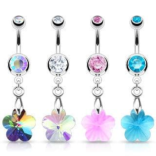 Surgical Steel Crystal Ray Prism Flower Belly Bar