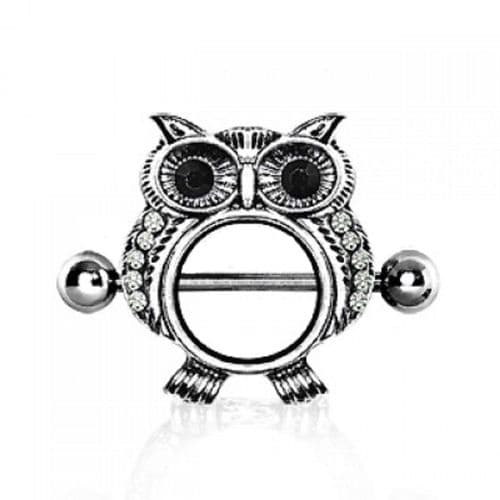 Surgical Steel Gem Owl Nipple Bar Shield