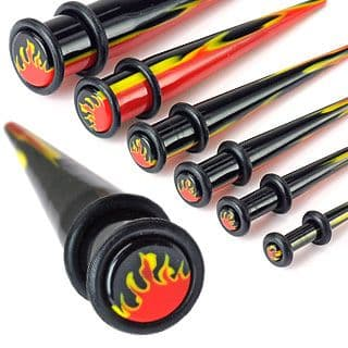 UV Acrylic Flame Inlayed Ear Taper with O-Ring