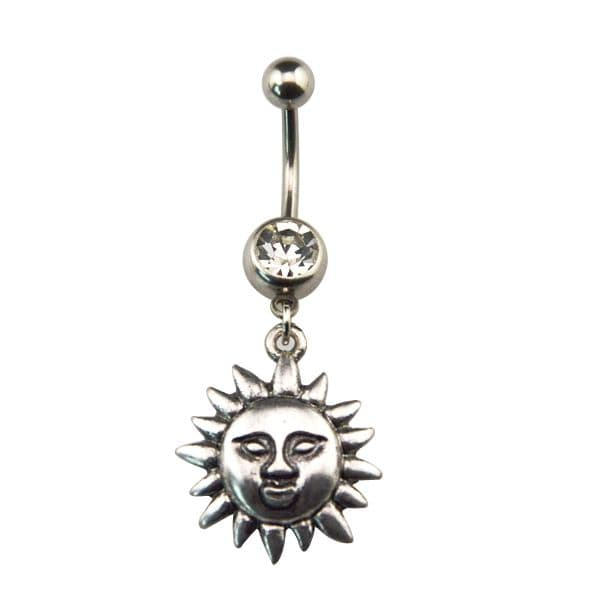 Wiccan Pagan Belly Bar / Navel Piercing with Sun Face Dangle