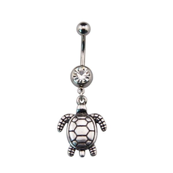 Wiccan Pagan Belly Bar / Navel Piercing with Turtle Dangle