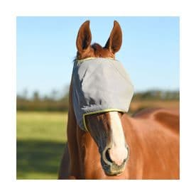 Field Relief Midi Fly Mask (No Ears)- Grey with Yellow Binding