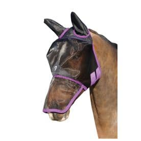 Hy Equestrian Mesh Full Mask with Ears and Nose~Black/Grape Royal