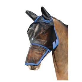 Hy Equestrian Mesh Full Mask with Ears and Nose~Black/Palace Blue