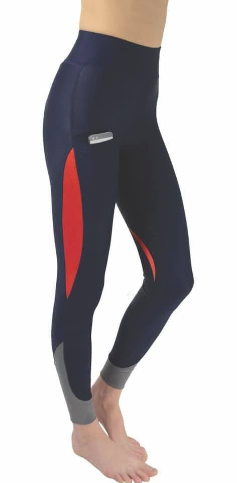 Hy Sport Active Silicone Riding Skins- Navy/Rosette Red