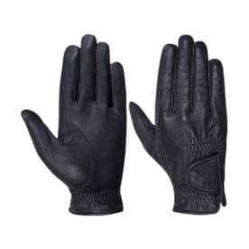 Hy5 Children's Leather Riding Gloves- Black