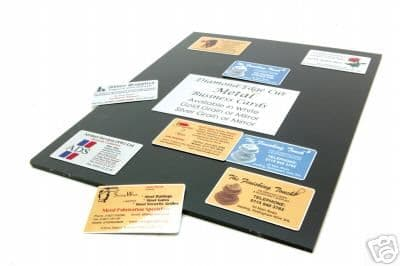 20 BUSINESS CARDS printed onto METAL 80x50mm
