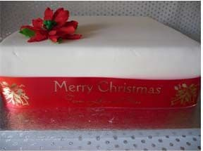 Christmas Cake Ribbon luxury polyester and personalised