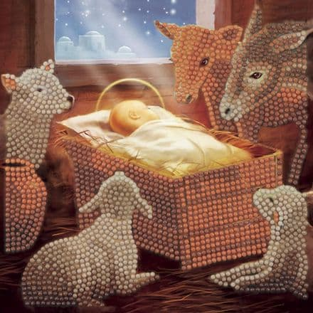 Crystal Art D.I.Y Baby In A Manger Christmas Card Kit