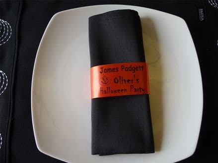 Napkin Ring Place Setting Name for Halloween Party Personalised Ribbon