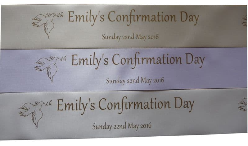 Personalised Confirmation Ribbon 45mm width choice of colour | Hot Graphix & Signs