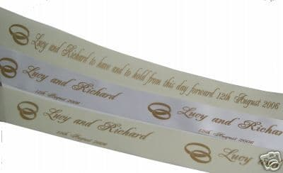 PERSONALISED WEDDING CAR RIBBON 5 metres