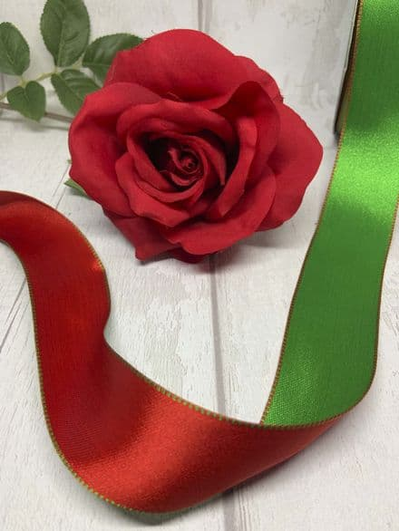 Red & green reversible wire edge ribbon