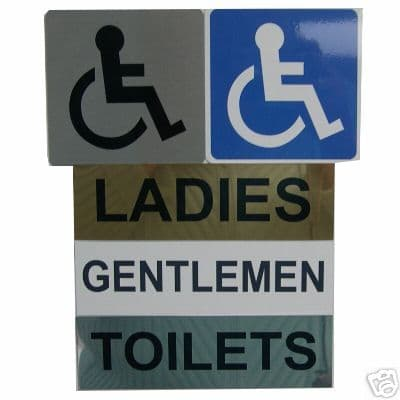 TOILET DOOR SIGNS, DISABLED, LADIES, GENTLEMEN - metal