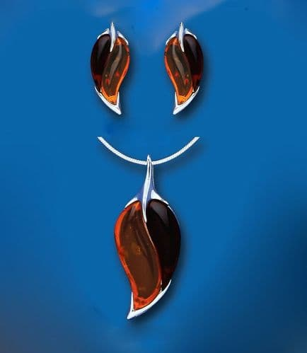 Amber Leaf Pendant and Earrings Set Solid Sterling Silver Natural Stones